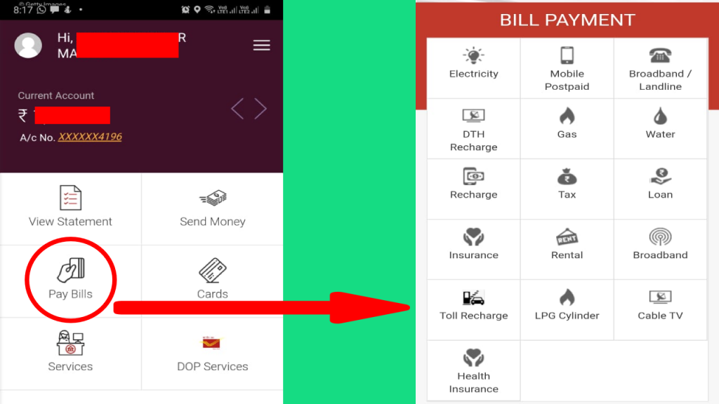 bill payment through india post payments bank app